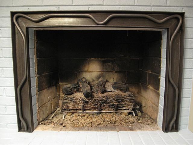 Fireplace surround art-nouveau steel