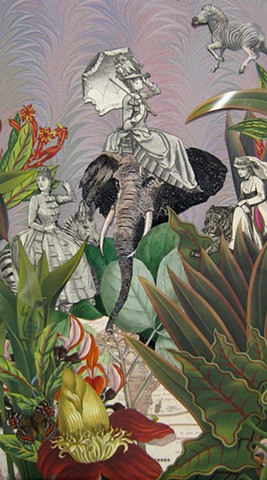 Victorian-era women ride a variety of wild animals through the jungle in a collage from Cincinnati artist Sara Pearce's The Grand Tour series.