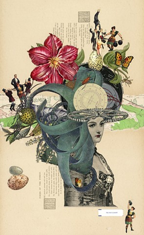 Collage by Cincinnati-based artist Sara Pearce of a Victorian woman meditating on her future