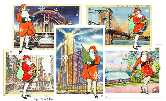 Christmas cards featuring Santa Claus visiting Cincinnati landmarks. Designed by Cincinnati's Paper With a Past Studio.