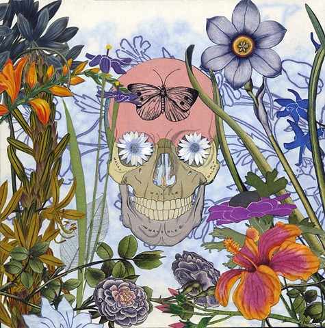 The second of three Dia de los muertos (Day of the Dead) collages that interconnect or can stand alone. By Cincinnati artist Sara Caswell-Pearce