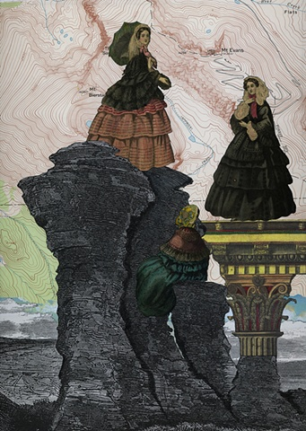 Three 19th century women stand atop high rock formations and a classic column in a mixed-media collage by Cincinnati artist Sara Pearce