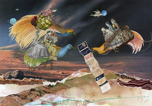 Collage by Cincinnati artist Sara Pearce of Victorian women exploring the planet Mars.