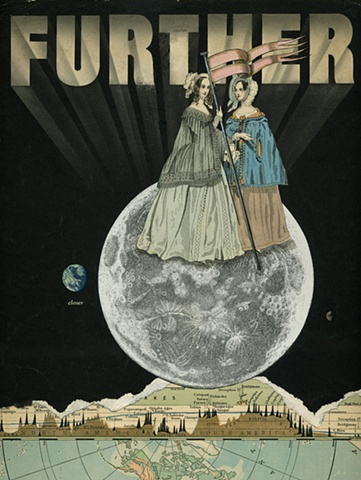 Two Victorian women plant a flag on the moon in a mixed-media collage from Cincinnati artist Sara Pearce's The Grand Tour series. Made with antique, vintage and recycled papers