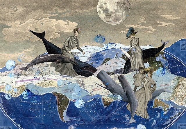 Victorian women ride whales across the world's oceans in a collage by Cincinnati-based artist Sara Caswell-Pearce.
