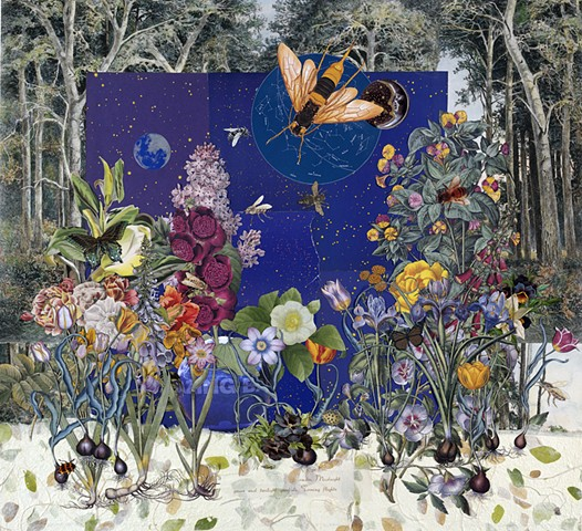 Collage showing bees flying around flowers at night by Cincinnati artist Sara Caswell-Pearce