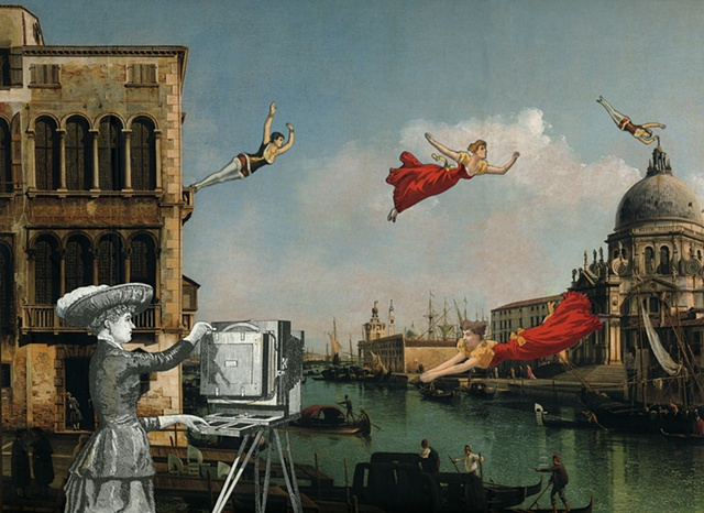 Victorian women fly above the Grand Canal in Venice Italy in a mixed-media collage from Cincinnati artist Sara Pearce's The Grand Tour series. Made with antique, vintage and recycled papers
