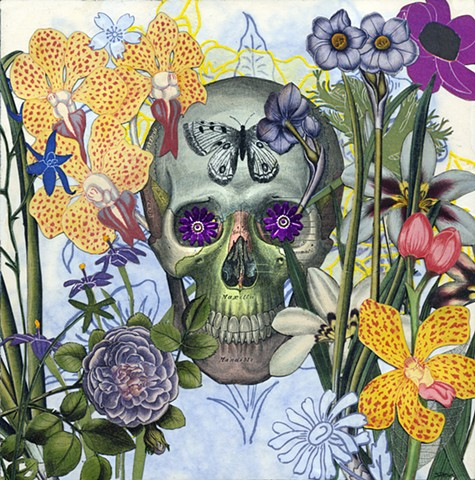 The third of three Dia de los muertos (Day of the Dead) collages that interconnect or can stand alone. By Cincinnati artist Sara Caswell-Pearce