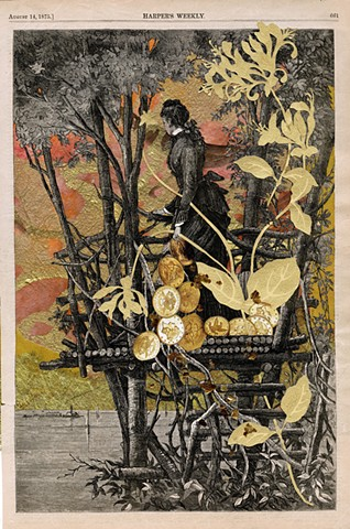 A Victorian woman holding gold coins and draped in golden leaves looks out from a tree house and sees a golden sunset in a mixed-media collage by Sara Pearce of Cincinnati's Paper With a Past Studio