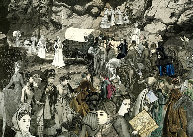 Crowds of Victorian women head through a pass in the Rocky mountains on their way West in a collage by Sara Pearce of Cincinnati's Paper With a Past Studio