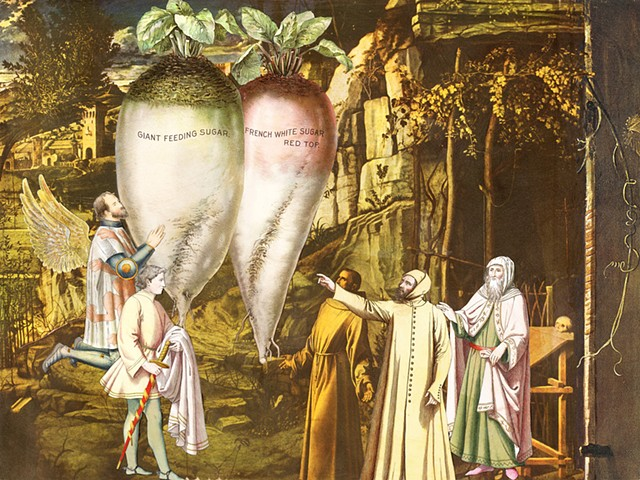 "A group of gentlemen are awed by the appearance of giant beets. A collage from the ""Miracle"" series by Cincinnati artists Sara Caswell-Pearce. The series celebrates the everyday miracles."