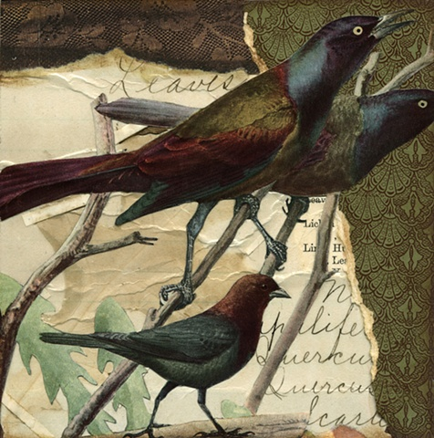 A trio of autumnal birds perch on limbs and a rock in a mixed-media collage by Cincinnati artist Sara Pearce's Out On a Limb series. Made with antique, vintage and recycled paper.