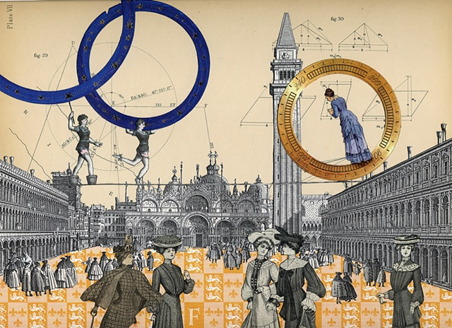 Three Victorian women perform on a high wire above St. Mark's Square in Venice Italy in a mixed-media collage from Cincinnati artist Sara Pearce's The Grand Tour series