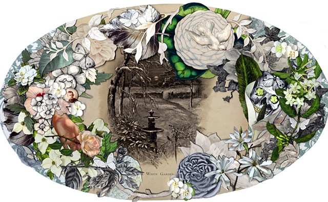Collage made in the style of a Victorian mourning wreath by Cincinnati collage artist Sara Caswell-Pearce.