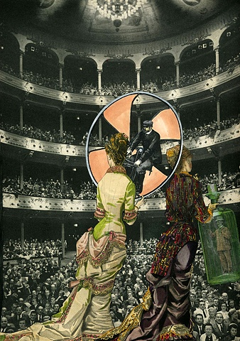 Collage of two Victorian women on stage with two tiny men from Cincinnati artist Sara Pearce's The Grand Tour series