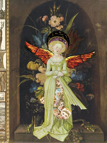 An angel has children enfolded in her skirt in a mixed-media collage by Cincinnati artist Sara Caswell-Pearce.