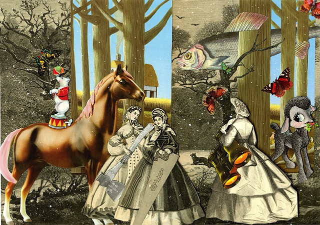 Three Victorian women in a fantasy woods cape in a mixed-media collage by Sara Pearce of Cincinnati's paper With a Past Studio.