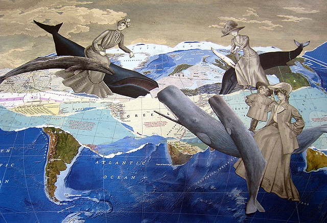 Women ride on whales across the world's seas in a mixed-media collage from Cincinnati artist Sara Pearce's The Grand Tour series.