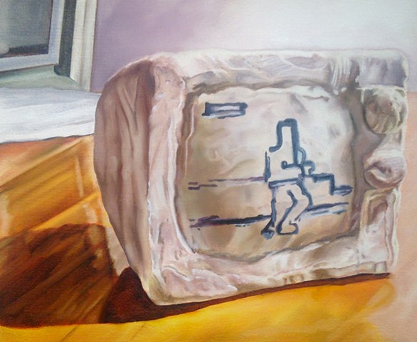 hyperrealistic painting of a clay tv with 8bit graphics by Alex Sewell