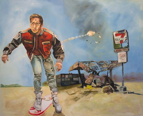 hyperrealism hyperrealistic photorealism surrealism figure back to the future painting mcfly painting air mag painting alex sewell alex sewell painting