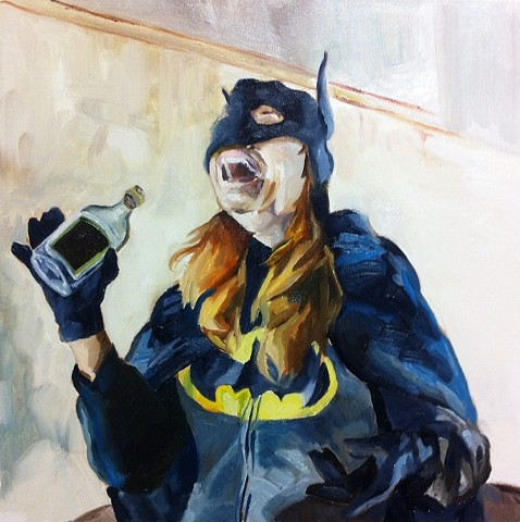 hyperrealism hyperrealistic photorealism surrealism figure batman drinking batman oil painting batgirl oil painting alex sewell alex sewell painting