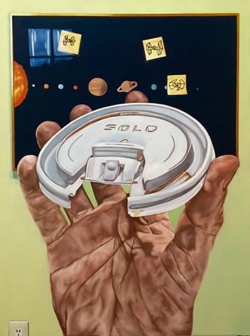 hyperrealistic painting of millenium faclon