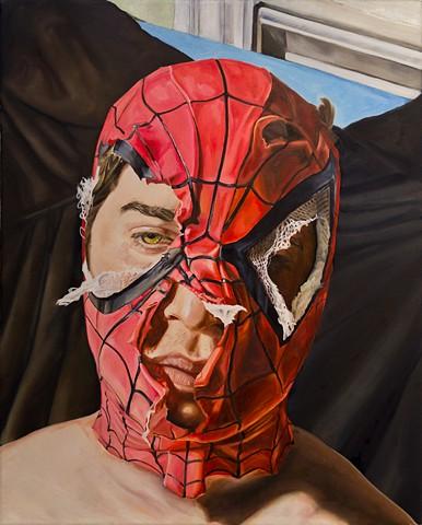 hyperrealism hyperrealistic photorealism surrealism figure alex sewell painting spider-man spiderman