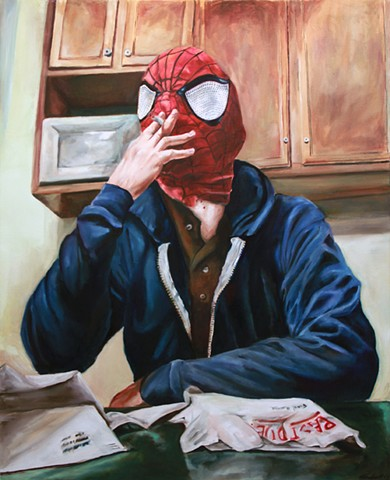 hyperrealism spiderman alex sewell painting photorealism photorealistic realistic comic marvel spider-man oil painting