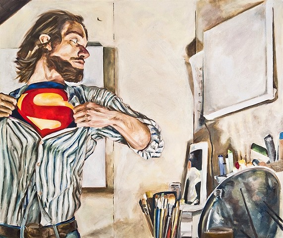hyperrealism hyperrealistic photorealism surrealism figure man of steel superman oil painting DC alex sewell painting