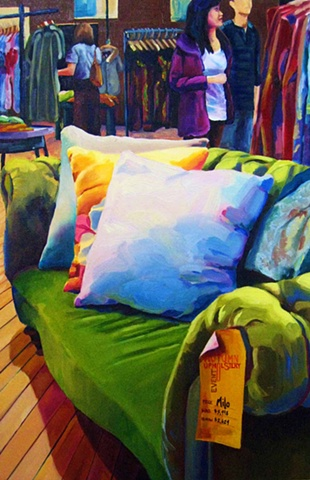 Fabric, colour, oil painting canadian artist art interior design decor textile