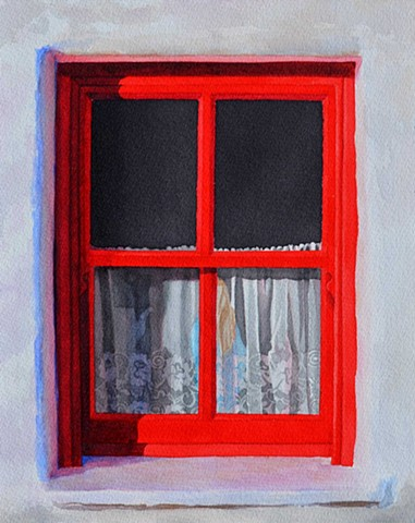 windows, ireland, kerry bog village, colour, watercolour paint canadian artist watercolor interior design decor