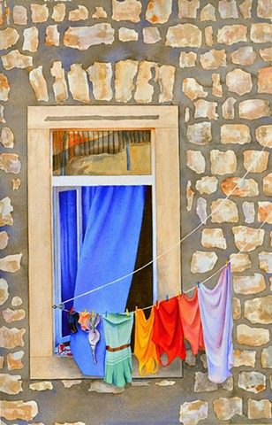 Watercolour painting fabric on clothesline canadian artist interior design decor