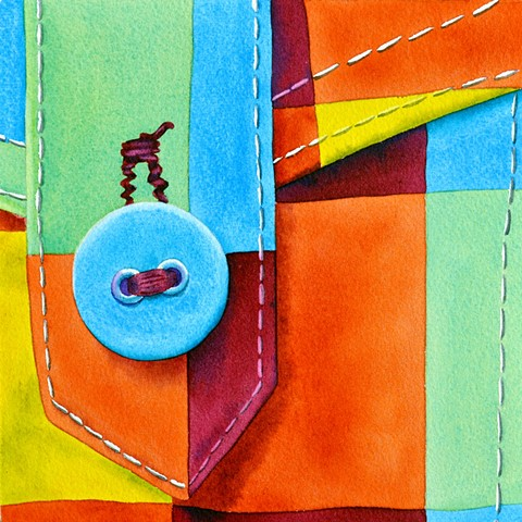 button, fabric, colour, watercolour, canada, painting