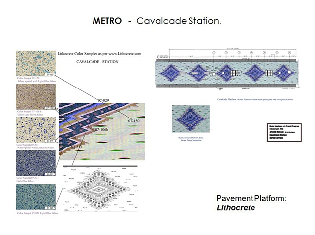 "Metro - Light Rail Transit- Houston, Texas. ""Cavalcade"" North Line. Platform Design. Pavement with Lithocrete -"
