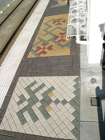 "Metro Station -   Light Rail Transit-  ""Herman Park- Rice""  Houston, Texas.  Platform Design.  Colored Stone Pavers."