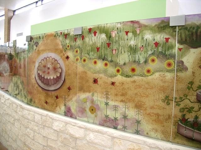 "Good Neighbor Healthcare Center. Houston, Texas.   Partition Wall - 2008.   Country Stone Wall with Laminated Glass.  27 Panels 36"" x 36"" Each."