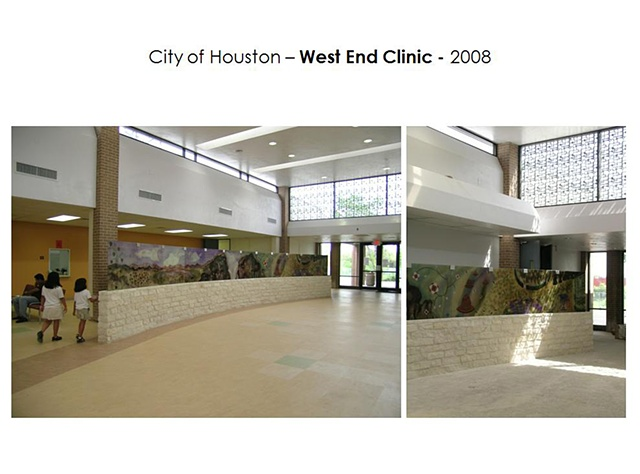 Good Neighbor Healthcare Center. Houston, Texas.  Partition Wall - 2008. 81 linear feet of country stone clad pocket wall with 27 Laminated glass panels.