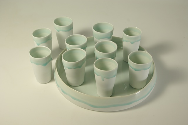 Celadon Tumbler and Tray set