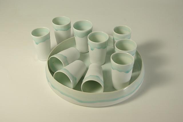 Celadon Tumbler and Tray set