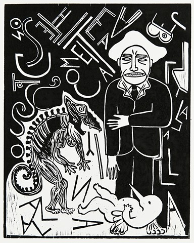 animals and figures, wood cut