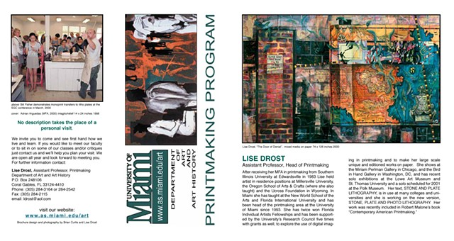 University of Miami Printmaking Brochure 2002 front