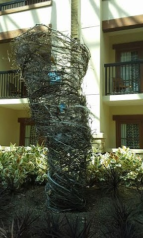 Sculpture, organic woven natural fiber, The Grapevine Tornado GAYLORD OZ Event installation