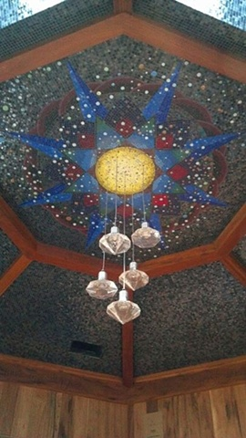 Mosaic mandala geometric ceiling commission installation