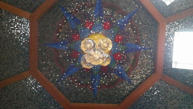 Mosaic mandala geometric ceiling installation commission