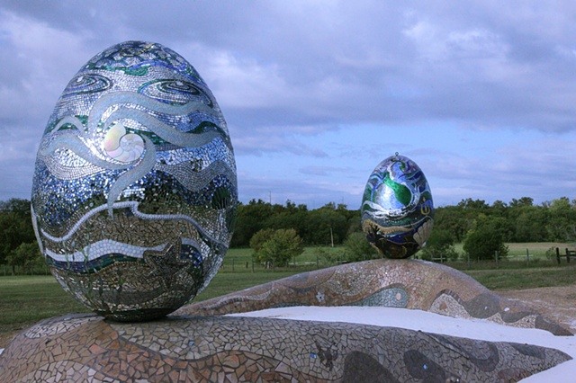 Mosaic egg installation sculpture commission Austin Texas
