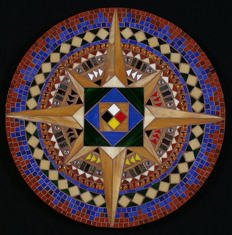 Mosaic mandala native American compass rose