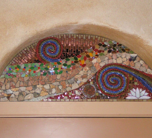 Mosaic installation cob house commission