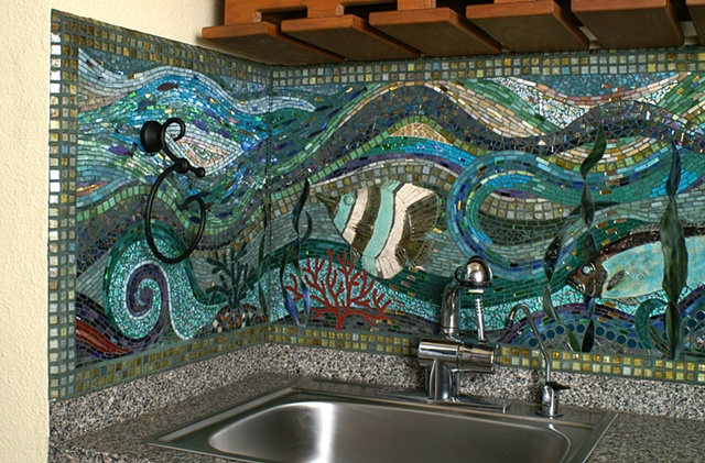 Mosaic backsplash underwater aquarium Austin Texas commission