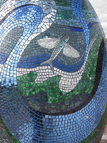 Mosaic egg installation sculpture commission