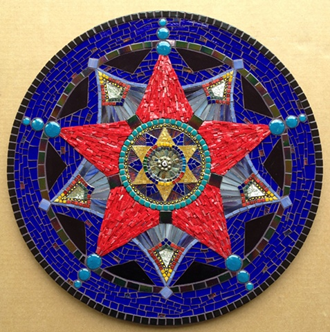 Mosaic mandala glass Smalti SpectraLock dazzle grout